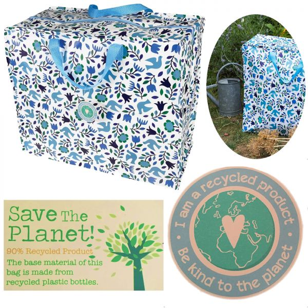 XXL Jumbo Bag Vögel Blau Recycled Öko Allzwecktasche Einkaufstasche