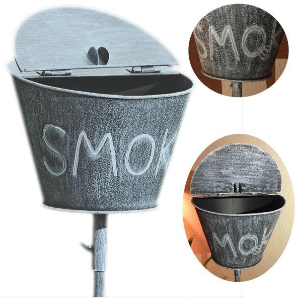 Windaschenbecher BBQ Tonne Smoke Grau Gartenstab 115cm Sturmascher