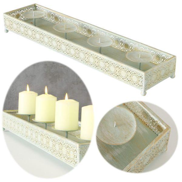 Kerzenschale Eisen 60cm Gold Kerzenständer Kerzenleiste Kerzentablett