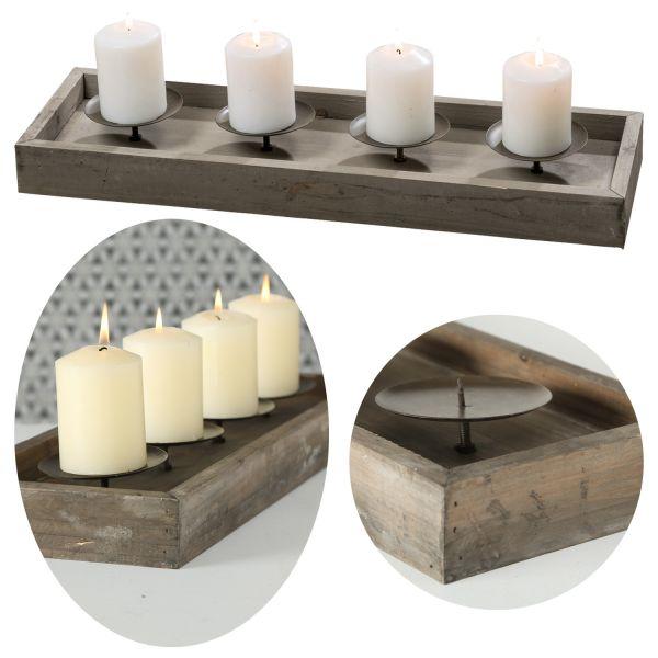 Kerzenschale Holz 53cm Braun Kerzenständer Kerzenleiste Kerzentablett