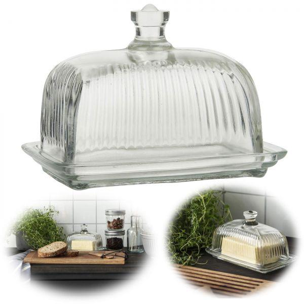 Vintage Glas Butterdose 17x12cm 2tlg. Deckel Beurre Butterglocke Butterschale