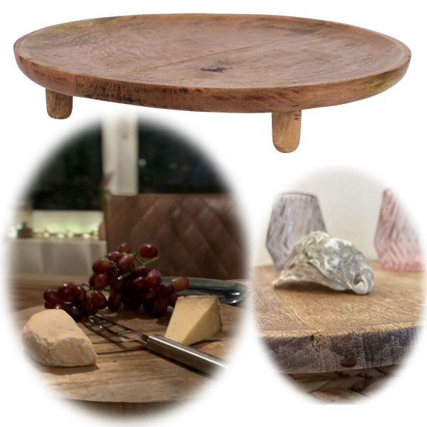 Mango-Holz Vesperbrett 37cm Rund Serviertablett Deko-Tablett Massiv