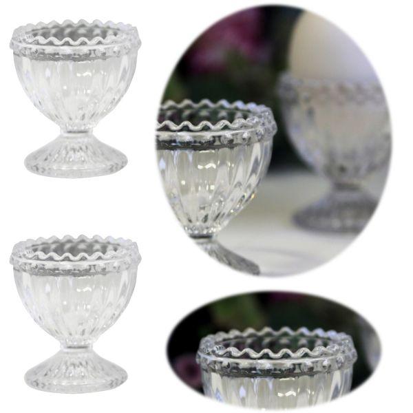 2x Vintage Glas Eierbecher Paris Weiß Set Perlenkante Retro Antik