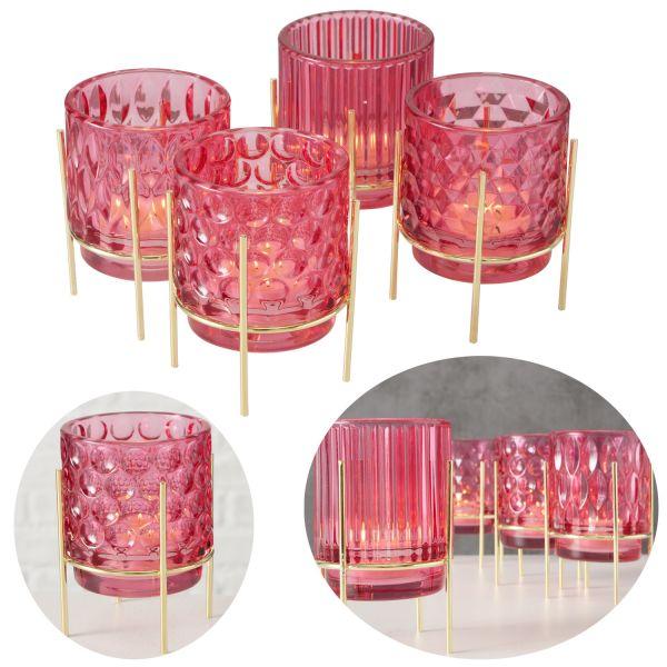 4 Glas Teelichthalter Set Rosa Gold 11cm Teelichtglas Windlicht-Halter