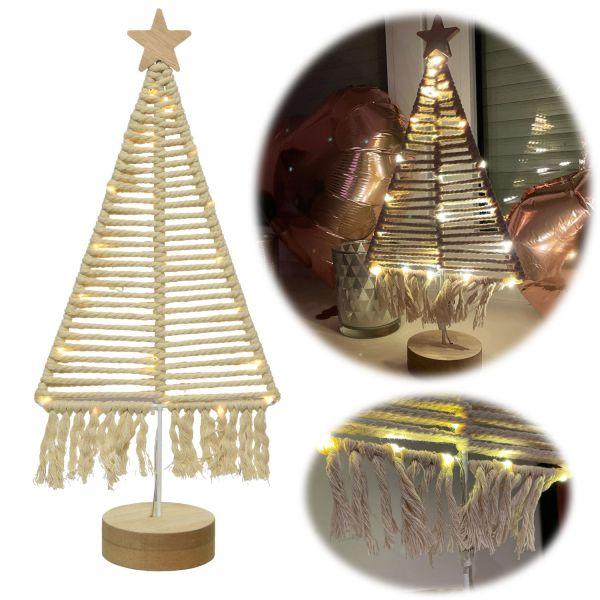 Design LED Leuchtbaum 40cm Boho Makramee Beleuchtet Tannenbaum Tischlampe