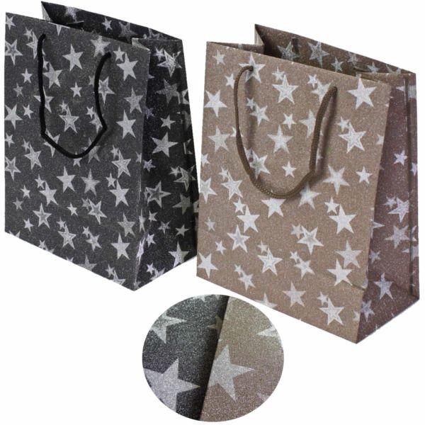 2x Geschenktüten 20cm Grau Braun Sterne Glitzer Weihnachtstüte Tasche