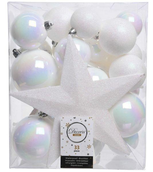 33 Christbaumkugeln Kunststoff Weiß Spitze Stern Weihnachtskugeln