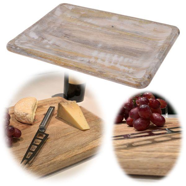 Mango-Holz Vesperbrett 40x30cm Serviertablett Deko-Tablett Massiv