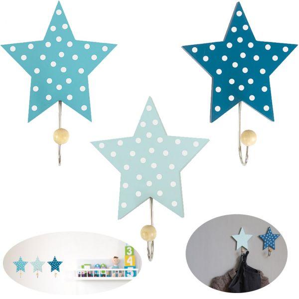 JaBaDaBaDo 3 Holz Kinder Kleiderhaken Sterne Blau R16025 Wandhaken