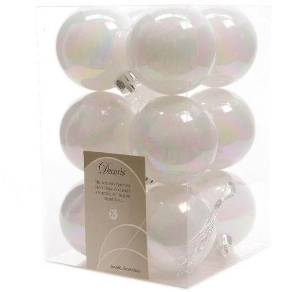 12 Design Weihnachtskugeln 6cm Weiß Kunststoff Dekokugel Baumkugel