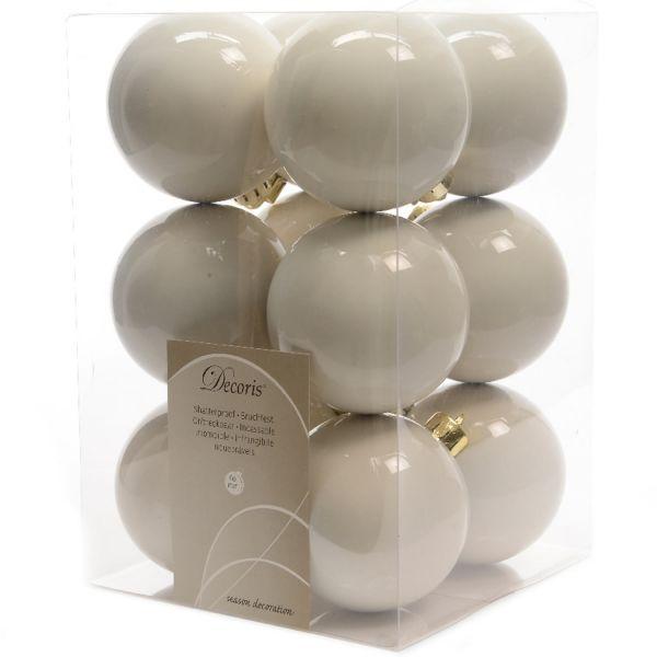 12 Design Weihnachtskugeln 6cm Woll-Weiß Kunststoff Deko Baumkugel