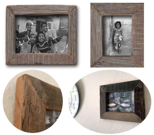 Wand-Bilderrahmen Fund-Holz 10x15cm Fotorahmen Vintage Retro Recycelt