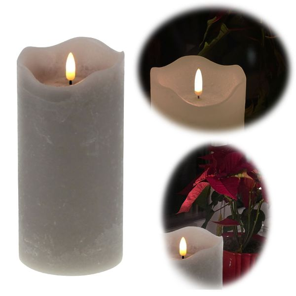 LED 3D Stumpenkerze Grau 20cm Echtwachs flackernde flammenlose Kerze
