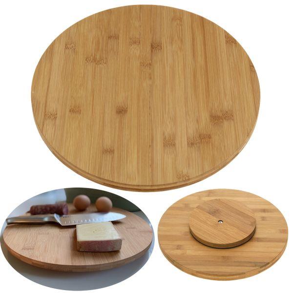 Holz Drehplatte Drehteller 35cm Bambus drehbar Drehtablett Servierplatte