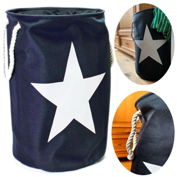 Wäschesack Wäschekorb Maritim Stern Blau Weiß Laundry Wäschesammler