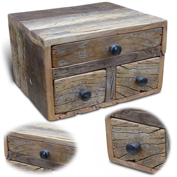 Vintage Aufbwahrungsbox 30cm recycelt Schubladenbox Holzbox Ordnungsbox