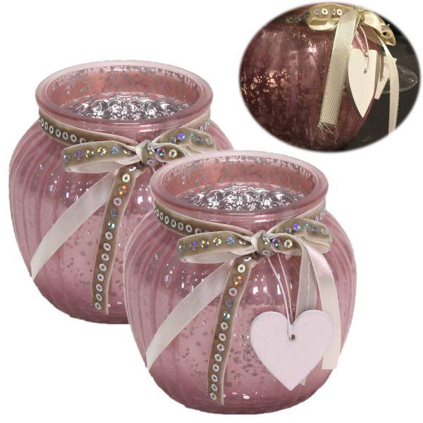 2x Glas Windlicht Rosa Rose Herz 11cm Set Teelichthalter Teelichtglas