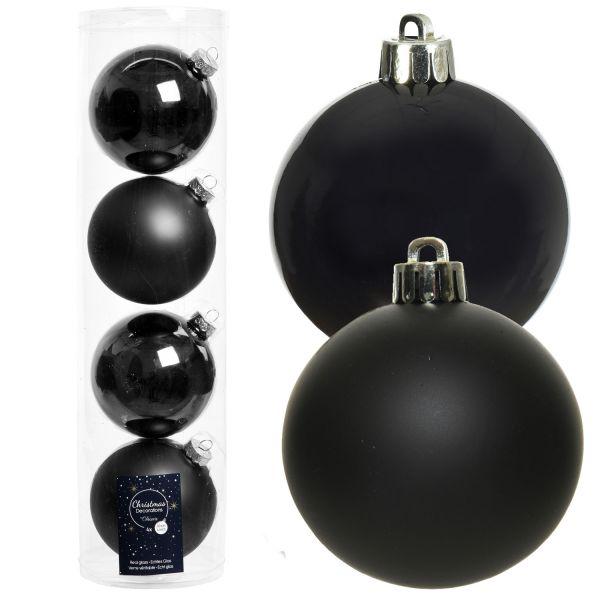 4 XL Design Glas Weihnachtskugeln 10cm Schwarz Black Christbaum Dekokugel