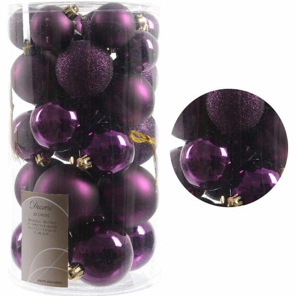 30 Kunststoff Weihnachtskugeln Lila Purple 4cm-6cm Baumkugel Dekokugel