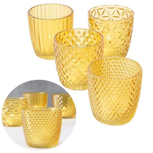 4 Glas Teelichthalter Set Retro Gelb 7cm Teelichtglas Windlicht-Halter