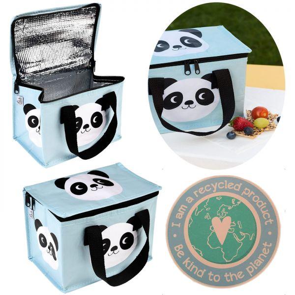 Kühltasche Panda Bär Blau Recycled Öko Thermotasche Lunchbag Kinder