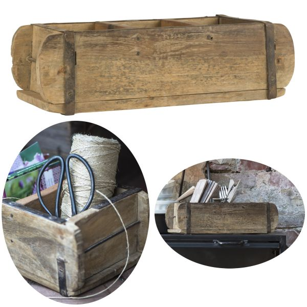 Unika Holz Ziegelform 31x15x9,5cm Braun 3-fach alte Backsteinform Cutlery Deko