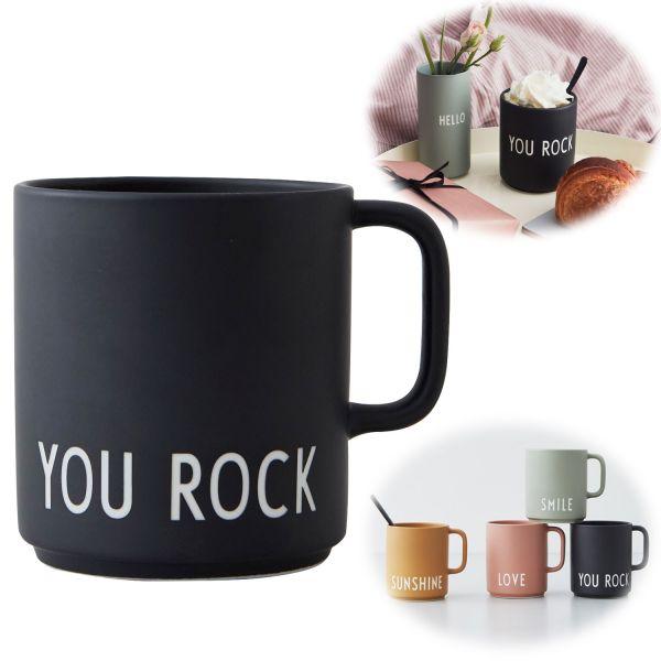 AJ Porzellan Henkel Kaffeebecher You Rock Design Letters Kaffeetasse Deko Becher
