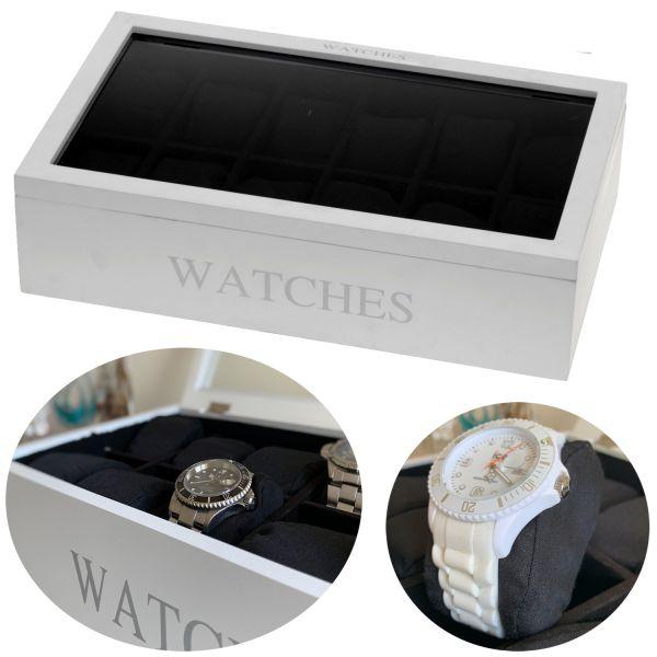 Uhrenbox Uhrenschatulle Holz Weiß 12 Uhren Uhrenkiste Uhrenkasten