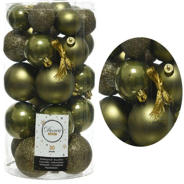 30 Kunststoff Weihnachtskugeln Oliv Moos Grün 4cm-6cm Baumkugel Dekokugel