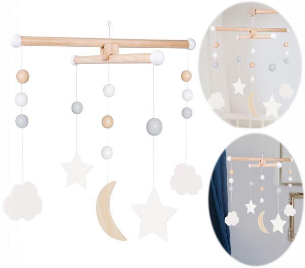 JaBaDaBaDo Holz Mobile Wolken Sterne Grau Weiß T235 Baby Kinder-Zimmer