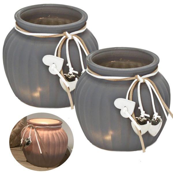 2x Glas Windlicht Grau Rose Herz 11cm Set Teelichthalter Teelichtglas