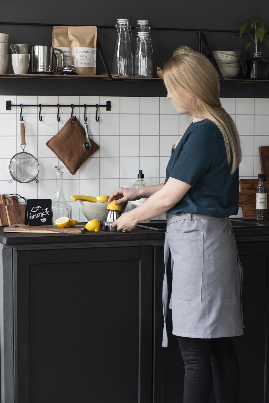 Vintage Wand-Garderobe Schwarz 116cm 16 Loft Haken-Leiste Küchen-Reling
