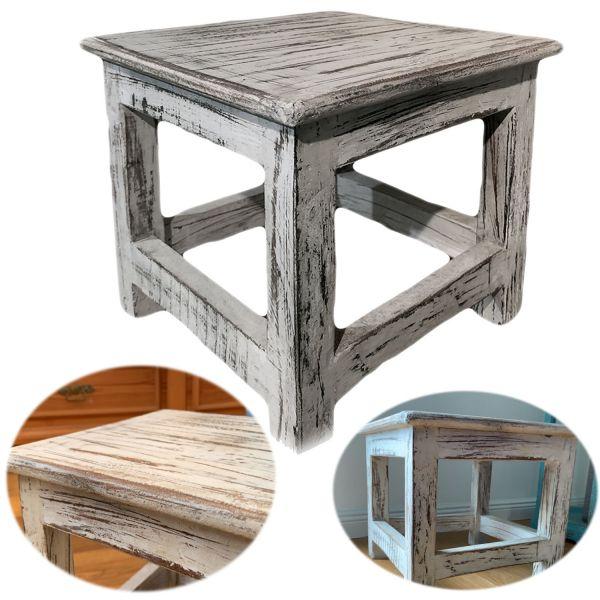 Vintage Holz Fußhocker Tritthocker Weiß 26cm Schemel Fußbank Bänkchen