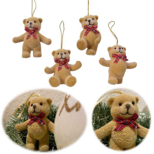 4x Kinder Christbaum-Hänger Teddy Bär 8cm Baumschmuck Weihnachts-Deko