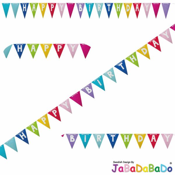 JaBaDaBaDo XL Wimpelkette Happy Birthday Girlande Geburtstag Party Z17041