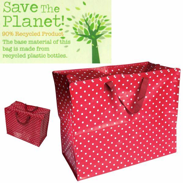 XXL Jumbo Bag Dot´s Rot Weiß Recycled Allzwecktasche Einkaufstasche