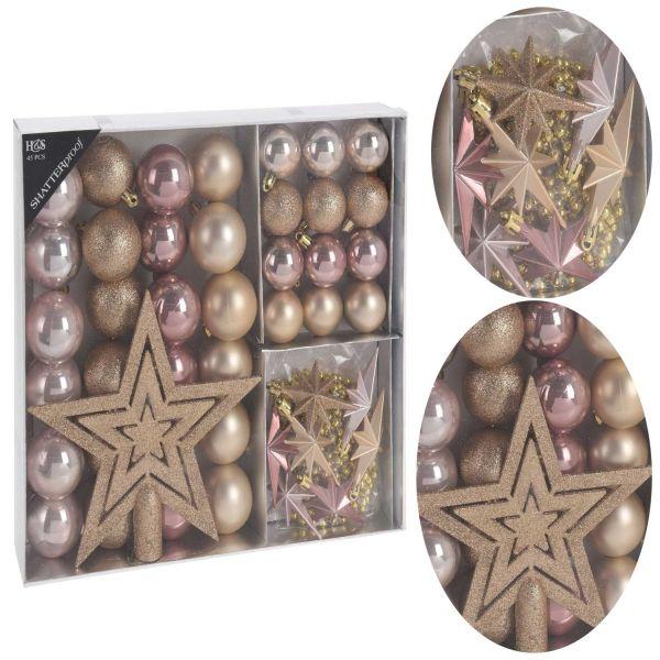 45 Kunststoff Weihnachtskugeln Rosa Perle Gold 4-5 Baumspitze Hänge-Sterne