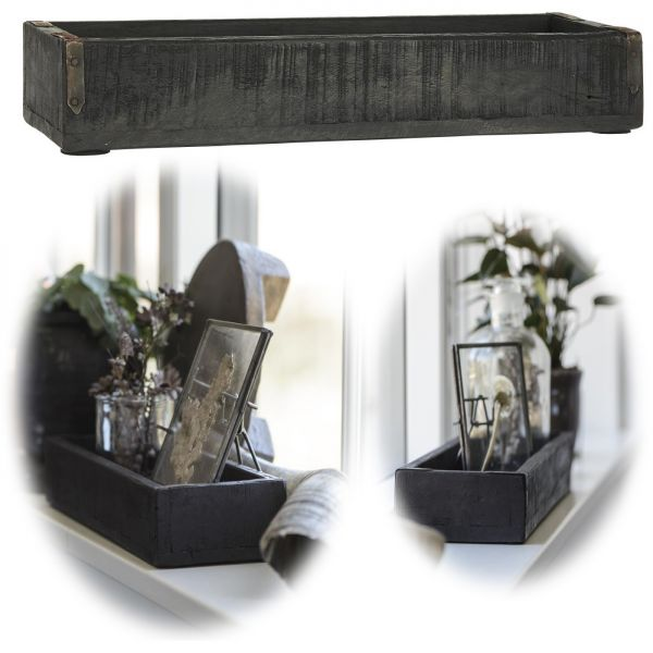Holz Aufbewahrungsbox Unika Schwarz 35x12x6cm Deko-Kiste Ib Laursen