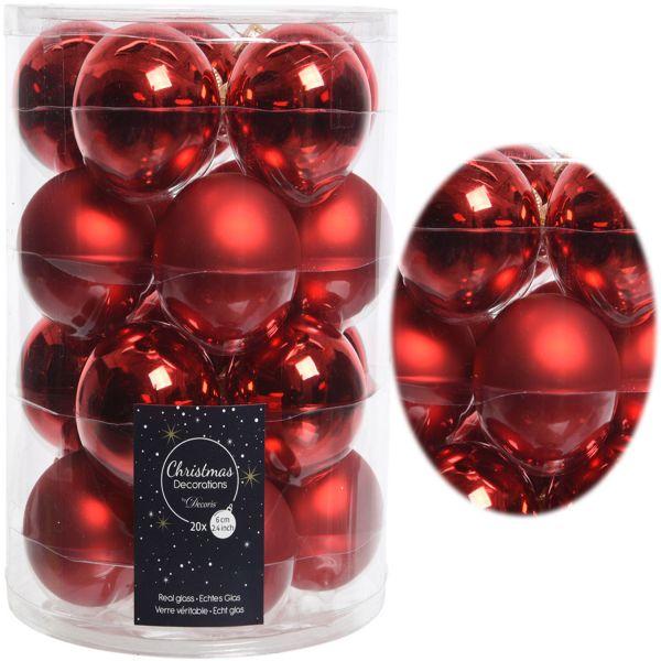 18-20 Design Glas Weihnachtskugeln 6cm Rot Weihnachtsrot Christbaum Deko