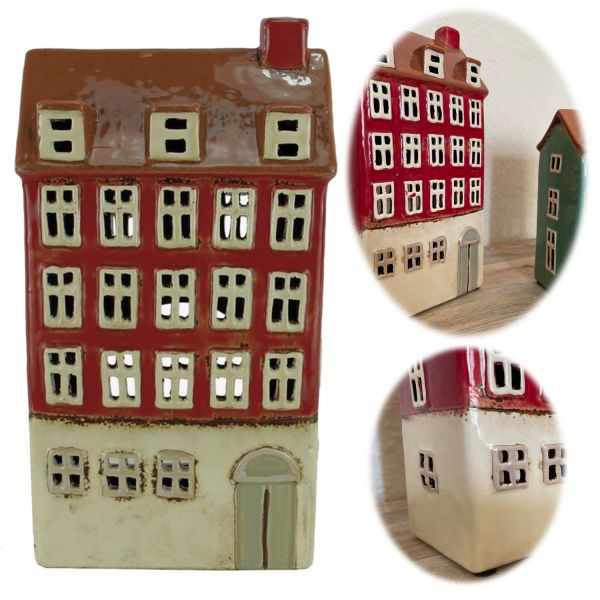 Teelichthaus Lichterhaus 24cm Keramik Fachwerkhaus Nyhavn Teelichthalter