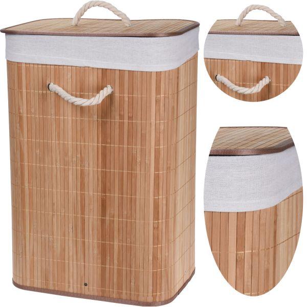 Wäschesack Wäschekorb Bambus Braun 60cm Deckel Wäschesammler Wäschebox