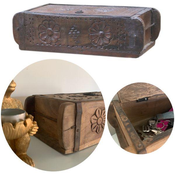 Holz Ziegelform Deko-Kiste Deckel Aufbewahrungs-Kasten Schmuck Box