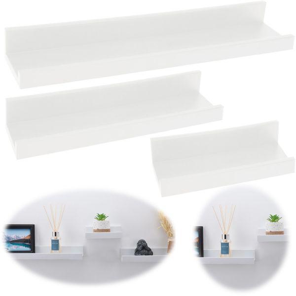 Wandregal Set 3-fach Weiß 3 Regale Küchen-Regal Bücher Wand-Board