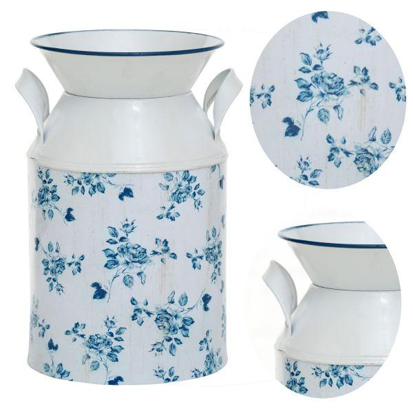 Nostalgie Metall Deko Boden-Vase Blume 21cm Weiß Blau Milchkanne Kübel