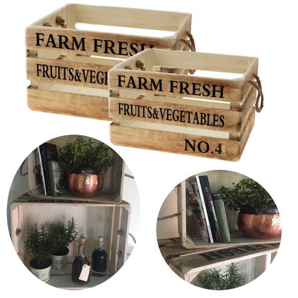 2 Weinkisten Holzkisten Braun Regal Obstkiste Blumenkübel Dekoration Box