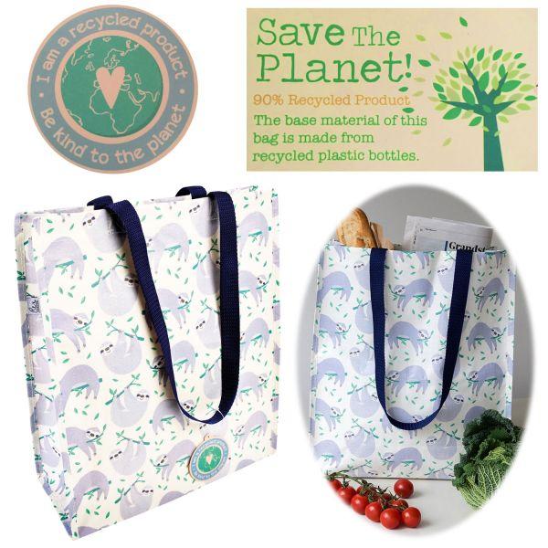 Shopper Einkaufstasche Faultier Recycled Strandtasche Schultertasche