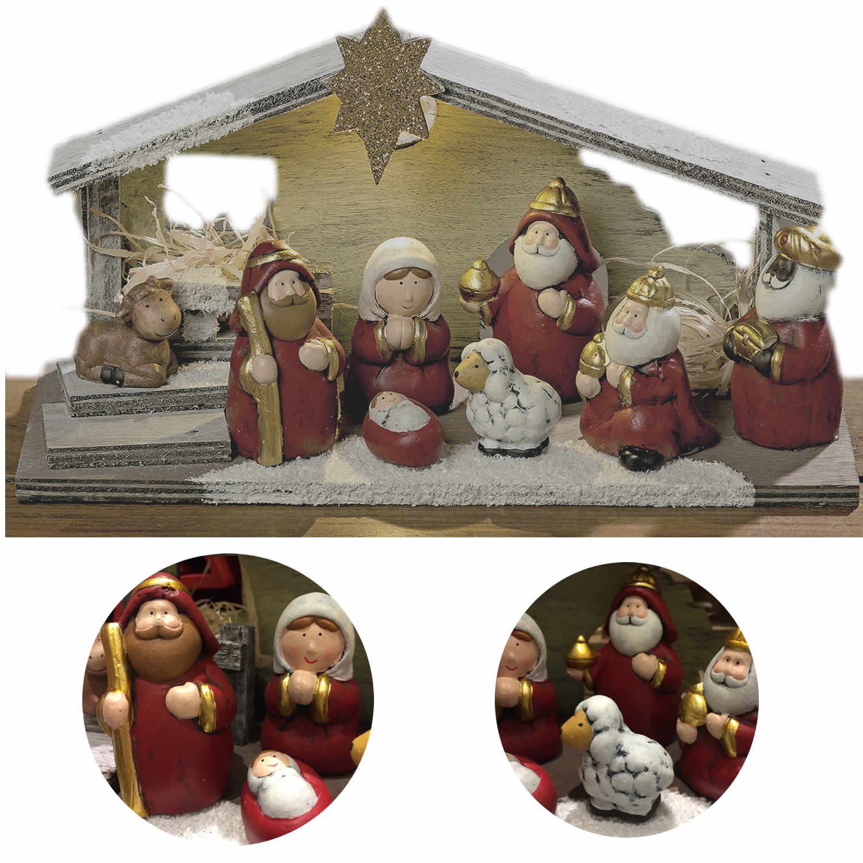 Kinder Weihnachtskrippe.Holz Led Kinder Weihnachts Krippe 8 Figuren 29cm Stall Krippenszene