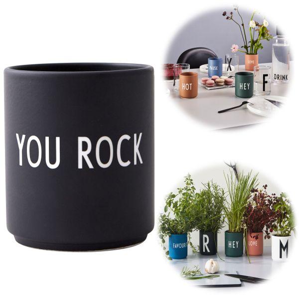AJ Porzellan Kaffeebecher You Rock Design Letters Kaffeetasse Deko Becher