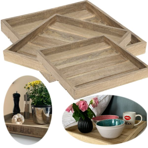 3x Holz-Tablett Serviertablett Set Mango-Holz Braun Natur Deko-Tablett