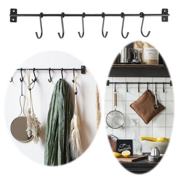 Vintage Wand-Garderobe Schwarz 50cm 6 Loft Haken-Leiste Küchen-Reling
